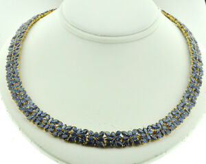 14k Solid Yellow Gold Natural Blue Sapphire tennis Necklace Choker 37.65 ct