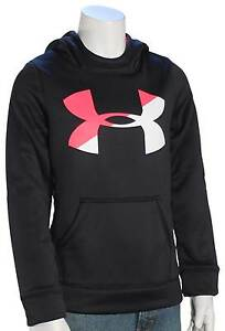 Under Armour Girl's Big Logo Pullover Hoody - Black  White  Penta Pink - New