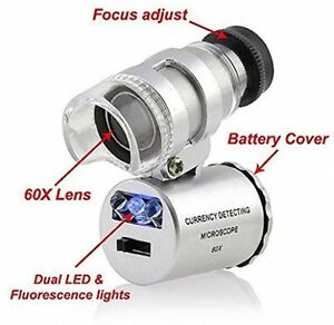 Grow Room Microscope - 60x Handheld Mini Pocket LED Loupe Magnifier - Blue Or -