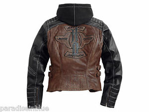 Harley Davidson Womens MEDRONA Brown Leather Jacket Hoodie 2 in 1 97025-15VW S M