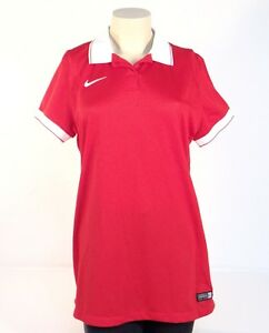Nike Dri Fit Red Short Sleeve Polo Shirt Women's Large L NWT