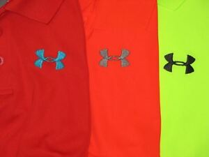LOT 3 BOYS UNDER ARMOUR HEAT GEAR LOOSE POLO GOLF SHIRTS SZ XL RED ORANGE YELLOW
