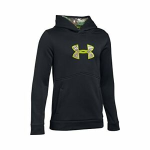 Under Armour Boys' Icon Caliber Hoodie BlackVelocity Youth Large New