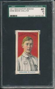 Eddie Collins 1911 D359 Rochester Baking SGC 40 3 Very Nice Card