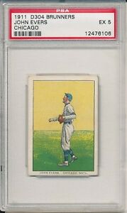 JOHN EVERS 1911 D304 GENERAL BAKING CO. BRUNNERS BUTTER KRUST PSA 5 EX!!