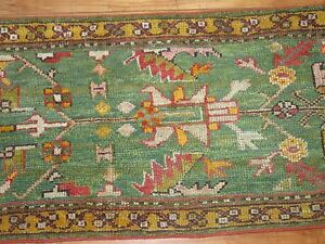 Antique Turkish Oushak Ushak Rug Runner Size 2'1''x16'1''