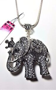 BETSEY JOHNSON CRYSTAL CROWN BLUE EYE ELEPHANT SILVER ROPE PENDANT LOBSTER CLAW $19.95