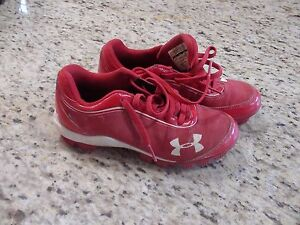 Under Armour Youth Boys Baseball Cleats Shoes Red Size 2Y #1229848-611 GUC