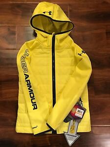 NEW Youth Boys S UNDER ARMOUR Storm Infrared Werewolf Yellow FZ Hoodie Jacket