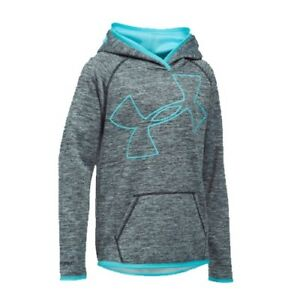 Under Armour 1284879-001 Girls Big Logo Hoodie - BlackAqua - Large