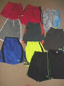 (10) UNDER ARMOUR NIKE YOUTH BOYS SHORTS SMALL MEDIUM USED POLYESTER