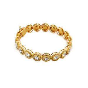 Solid Yellow Gold Designer Bangle Natural Diamond Women Gift Jewelry