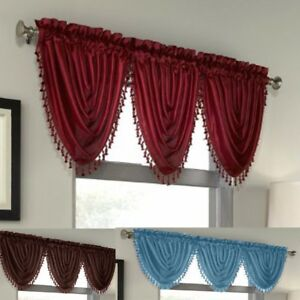Luxury Waterfall Faux Silk Decorative Trim Window Valance 10 Colors AVAILABLE $7.99