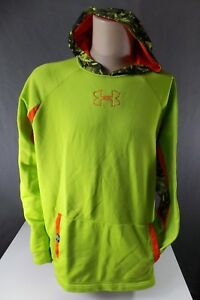 Sz XL TG MEN'S Under Armour Lime Green Camoflage Hoodie Sweat Shirt 917-h5