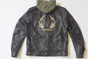 Harley Davidson Men Camaraderie Black Leather Jacket Hoodie 3 in 1 L 97077-09VM
