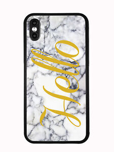 White Marbel Print With Hello For iPhone XS 2018 iPhone X 2017 Case