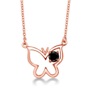 0.27 Ct Round Black Diamond 18K Rose Gold Plated Silver Butterfly 18