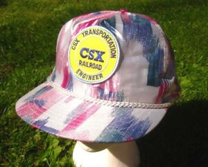 CSX tropical Railroad Engineer baseball hat Chessie Railroad train snapback cap