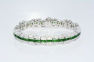 $38000 8.49CT NATURAL TSAVORITE & DIAMOND VINTAGE DESIGN BRACELET 18K WHITE GOLD