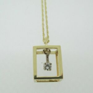 14k Yellow Gold Approx .05t Round Brilliant Floating Diamond Pendant Necklace 18