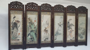 Chinese Wood Carved 6 Artist Ink Watercolour Painting Panel Folding Table Screen