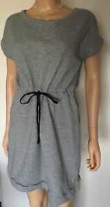 Joan Voss Sport Gray T Shirt Dress Sweatshirt Cinch Waist 100% Cottom Sz Medium