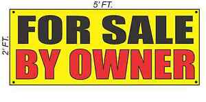 FOR SALE BY OWNER Banner Sign Yellow with Red Black $26.95