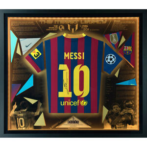 Signed Lionel Messi Shirt Montage - Exclusive Framed LED Barcelona Legacy