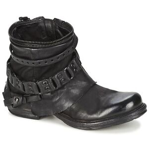 NEW Womens Leather Chain Punk Side Zip Motorcycle Combat Ankle Boots Shoes X601