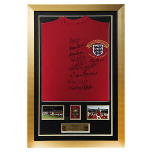 Autographed by 10 Charlton Hurst & Ball 1966 England Shirt-1966 World Cup Final
