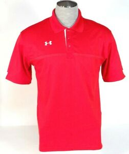 Under Armour Loose Fit Moisture Wicking Red Short Sleeve Polo Shirt Men's NWT