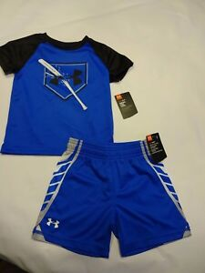 NEW Lot of 2: Boys UNDER ARMOUR Outfit Shorts + Shirt size 2T Blue