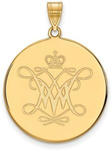 Gold Plated Sterling Silver William amp; Mary XL Disc Pendant by LogoArt