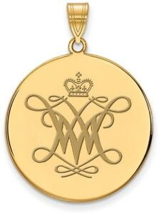 Gold Plated Sterling Silver William amp; Mary XL Enamel Disc Pendant by LogoArt