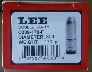 LEE 2-Cavity Bullet Mold C309-170-F-30 Caliber 170 gr. Flat Pt. Gas Check #90368