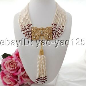 K090404 19quot; 9Strands White Pearl Red Jade Necklace CZ Pendant