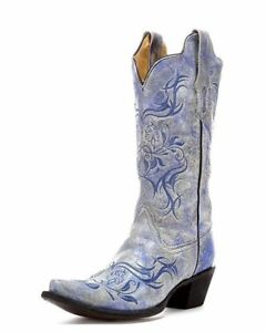 CORRAL Women Distressed Fluorescent Blue Tribal Embroidered Snip Toe Boot R1199 $172.50