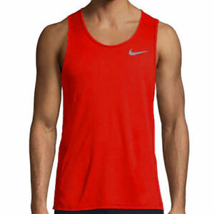 Nike Dry Men's Track Red Dr-Fit Training Crew-Neck Tank Top