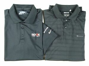 Lot of 2 Mens NIKE GOLF Dry Fit ADIDAS CLIMACOOL Polo Shirt Black sz L