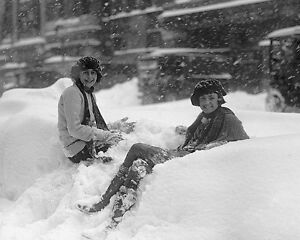 Kids play in the snow during the Knickerbocker storm in 1922 Photo Print