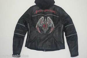 Harley Davidson Women ROAD ANGEL Black Leather Jacket 3in1 Hoodie M 97121-09VW