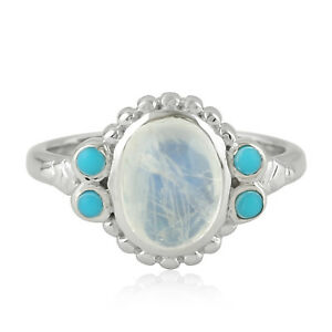 Rainbow Moonstone 0.25ct Turquoise Sterling Silver 5 Stone Fashion Ring Size 6