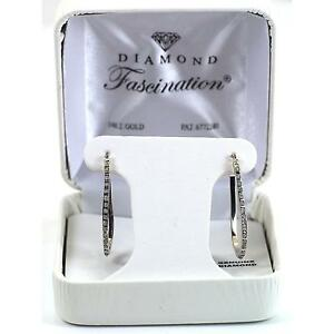 14K White Gold Diamond Hoop Earrings with Blue Jewelery Gift Box