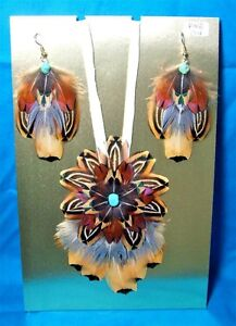 Feathered Earrings & Leather Necklace Set Pheasant Feathers & Turquoise FNE04