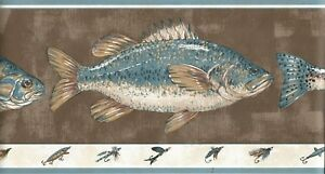 Fish hook lure fly fishing bass trout wallpaper border lodge Brown Encore BB4884