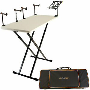 Fastset Fast-Attach Master DJ Bundle (white) w Table Laptop & 2 Keyboard Stands