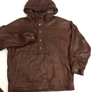 1 HD Men's Brown LAMB SKIN Jacket HOODIE Pull Over BUTTERY Soft Leather Coat XL