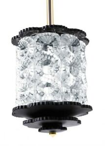 Lalique Chandelier Crystal SEVILLE 81# small size 8 element BLACK UL USA 1010799