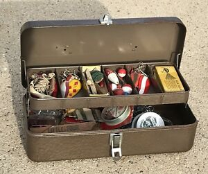 Vintage Metal Sport King Tackle Box Full of Fishing Spoons Lures Bobbers Line ++