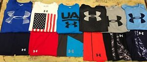 Boys YLG Large Under Armour Outfit Matching Sets Lot Shirts Shorts